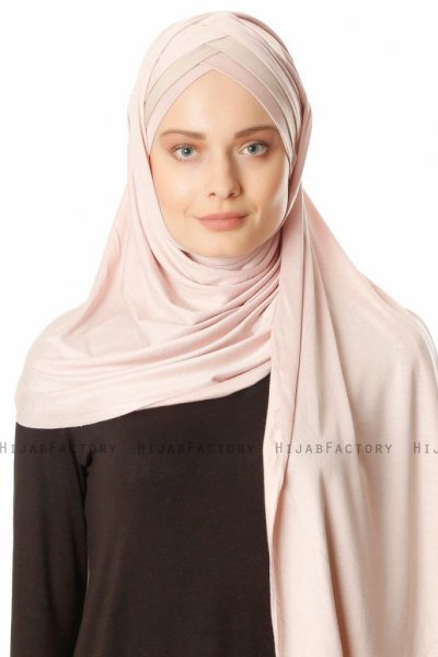 Duru - Oudroze & Licht Taupe Jersey Hijab