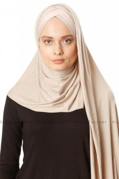 Duru - Licht Taupe & Oudroze Jersey Hijab