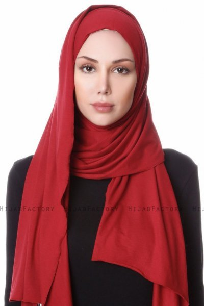 Hanfendy Bordeaux Praktisk One Piece Hijab Sjal 201706a