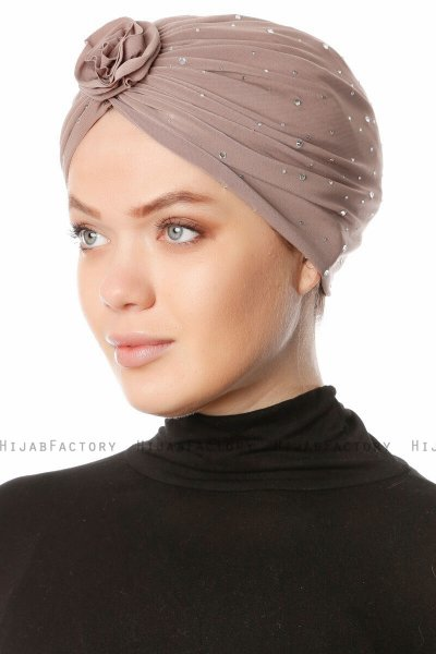 Shereen - Licht Taupe Crepe Chiffon Turban - Sehr-i Sal